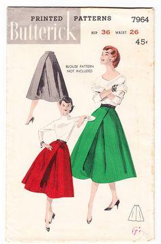Vintage 1955 Butterick 7964 UNCUT Sewing Pattern Misses' Skirts Scissor Pleat Size 26