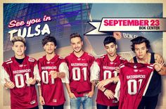Omg! They're all in razorback jerseys!! Niall looks sexy