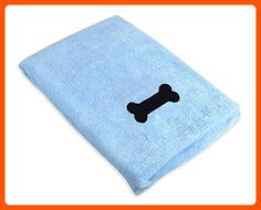 """DII Bone Dry Microfiber Dog Bath Towel with Embroidered Bone - 44x27.5"""" - Blue - For our pretty pets (*Amazon Partner-Link)"""