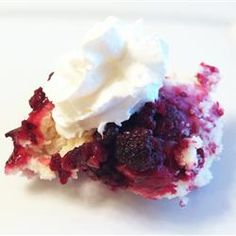 "Emily's Blackberry Cobbler | ""This is a fascinating recipe. Instead of placing dollops of raw dough on top of the fruit, the raw dough goes on the bottom, and during baking rises to the top. I ran this procedure by a friend and she commented that this must be a very old recipe, indeed."" -- Susie of Utah"
