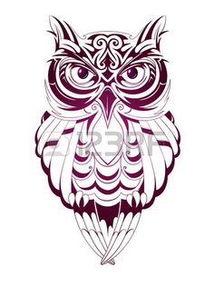 Vector illustration with owl tattoo isolated on white Stock Vector