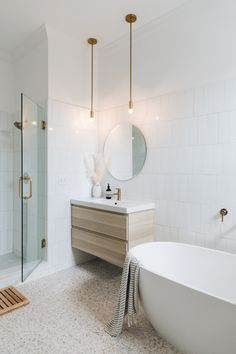 I really like the idea of a terrazzo floor in one bathroom. Bathroom Renos, Laundry In Bathroom, Bathroom Renovations, Terrazzo Flooring, Bathroom Flooring, Bathroom Concrete Floor, Bathroom Fixtures, Modern Bathroom, Small Bathroom