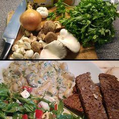 Homemade #mushroom #ragout with a salad of pear, bell pepper, blue cheese and arugula. #leftovers #dontwastefood