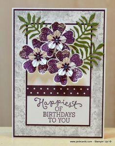 Jan Brown: JanB Handmade Cards Atelier: Timeless Textures Video - (Pin - Jan Brown: JanB Handmade Cards Atelier: Timeless Textures Video – (Pin Flowers: D - Birthday Cards For Women, Handmade Birthday Cards, Happy Birthday Cards, Handmade Greetings, Greeting Cards Handmade, Stamping Up Cards, Creative Cards, Flower Cards, Scrapbook Cards