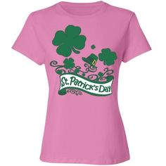 #StPatricksDay #Clovers & #Hat #PinkCottonTshirt by #MoonDreamsMusic #RelaxedFit