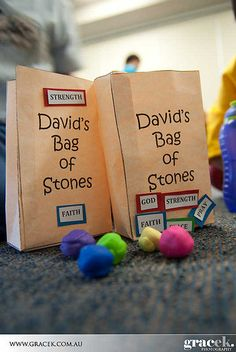 Our very first Zion Kids project was to do craft with the children. The story of the day of David Goliath and we did a google search and found an idea to make 5 stones and bag!! How cool is that!!!!
