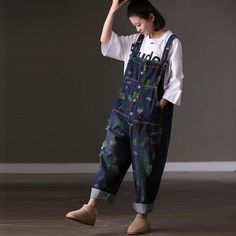 1be01f740271 Literature and art large printing large pocket loose holes in the back belt  jeans female spring.