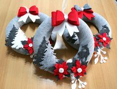 Felt Christmas Decorations, Felt Christmas Ornaments, Christmas Art, Christmas Projects, Mery Chrismas, Christmas Applique, Diy Wreath, Holiday Wreaths, Christmas Crafts