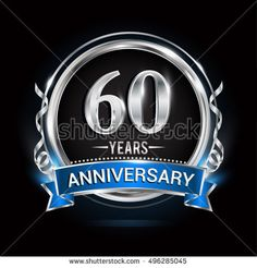 Logo celebrating 60 years anniversary with silver ring and blue ribbon.