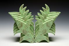 Rain Harris green porcelain sculpture with decals and vintage thinestones