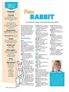 Peter Rabbit Page 1 Teddy Bear Knitting Pattern, Animal Knitting Patterns, Crochet Dolls Free Patterns, Stuffed Animal Patterns, Baby Knitting Patterns, Knitting Stitches, Knitting Designs, Free Knitting, Knitted Bunnies