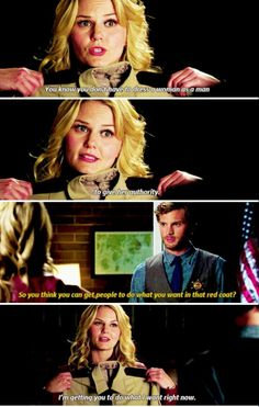 """So you think you can get people to do what you want in that red coat?"" - Emma and Graham...Way Back in Season 1"