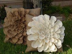 Custom Burlap Flower Pillows by FrazzledFabulous on Etsy