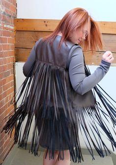 Love the boho style? Want to make yourself fringed garments? This tutorial will teach you how to sew a vest using imitation leather, but you will also learn an easy method for adding fringe to just about any project!