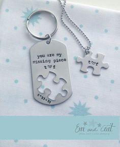 :: Military couples. Long distance love. Deployment gift. Wedding gift. Anniversary gift :: You are my missing piece / Military Couples / Custom by EmandCait, $25.00