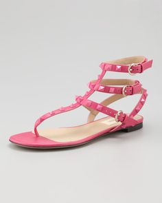Rockstud Ankle-Wrap Sandal, Fuchsia by Valentino at Neiman Marcus.
