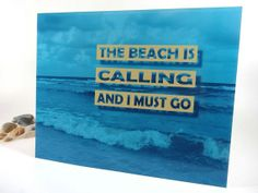 """Beach Art Print Inspirational Quote Beach House Decor Turquoise Blue and Beige 8"""" x 10"""""""