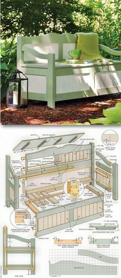 Outdoor Storage Bench - Outdoor Furniture Plans and Projects - Woodwork, Woodworking, Woodworking Plans, Woodworking Projects