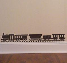 Choo Choo Train set - Vinyl Wall Decal - Decorate a Toybox - Boys Locomotive Bedroom Decor. $21.00, via Etsy.
