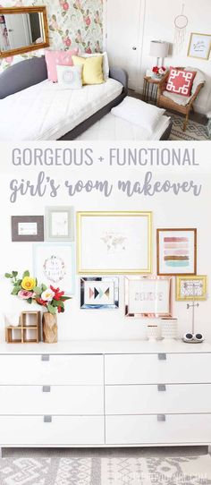 If you are looking for beautiful and functional girl's room ideas look no further! Not only is this room beautiful, but it can grow with a toddler all the way into teenage years. Full of fun and whimsy, your daughter will love this room! #girlsroom #littlegirlsroom #girlsroomideas #girlsroominspo #girlsroomdecor #girlsroommakeover