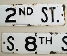 Vintage Street Sign : Porcelain Enamel Black and White. $68.00, via Etsy.