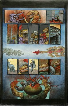 Simon Bisley and Kevin Eastman - Melting Pot, Book One, page 13 Original Art (Kitchen Sink, 1994). A plague contaminates the border town of Juudas. Odin's protector, Zeek, faces a taloned killer and takes him down in an explosion of blood, in this page from Kevin Eastman and Simon Bisley's collaboration.