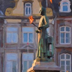 A painting made by Nop Briex, www.briex.eu, of the famous statue of the famous Maastricht inventor Jan Pieter Minckeleers.