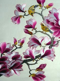 Red magnolia, silk embroidery painting, all hand embroidered with silk threads on silk by embroidery artists from Su Embroidery Studio, Suzhou China