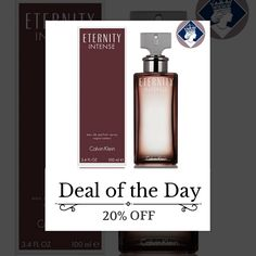 Today Only! 20% OFF this item.  Follow us on Pinterest to be the first to see our exciting Daily Deals. Today's Product: Calvin Klein Eternity Intense for Women 100ml/3.4oz Eau de Parfum Perfume Spray Buy now: http://perfumebrands.net/products/calvin-klein-eternity-intense-for-women-100ml-3-4oz-eau-de-parfum-perfume-spray?utm_source=Pinterest&utm_medium=Orangetwig_Marketing&utm_campaign=Only%20Today%20...%20Special%20Price%20for%20a%20special%20person #fashion #perfume #smellgood…
