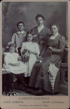 Grande CDV enfants et adolescentes Cabinet portrait Louis Zumbühl Stans 1890