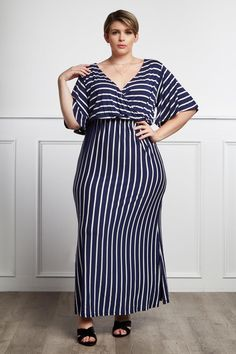 d4bfb1d0358 Look polished without trying with this breezy plus size striped maxi dress!  Add some suede heels and multi layered necklace to this chic striped maxi  dress!
