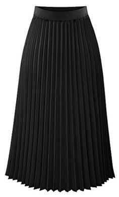 6bcc7879a Papijam Womens Elastic High Waist Chiffon Pleated Solid Midi Skirt Black L  *** Click
