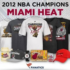 The Miami Heat are on top of the basketball world! To celebrate, we've launched more than 200 championship items! However you want to represent the kings of the court, we've got you covered! You can browse all the available merchandise here:  http://pin.fanatics.com/NBA_Miami_Heat/source/pin-heat-12nbachamps-graphic-sclmp Nba Miami Heat, Nba Store, Gears, Style Inspiration, Basketball, Celebrities, Sweatshirts, Recipes, Sports
