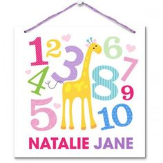 For Me Personalized Baby Girl Art Board ( Baby Gifts For Dad, Giraffe Art, Jack And Jill, Personalized Baby Gifts, Room Signs, Hanging Art, Art Girl, Art Boards, Wall Decals