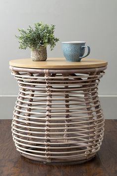 Amazon.com: Dodds Off White Rattan Round Accent Table/ Side Table/