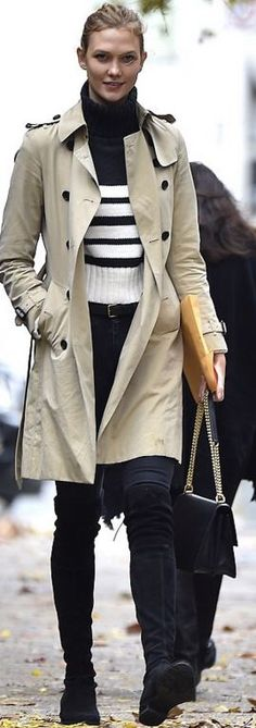 Who made Karlie Kloss' tan trench coat and black suede thigh high boots?