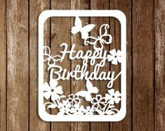 Birthday Papercut Template Birthday Cards Template Papercut | Etsy Diy Birthday, Birthday Cards, Birthday Card Template, Christmas Templates, Papercutting, Cutting Files, Cricut, Etsy, Bday Cards