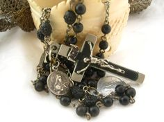 Antique french Lourdes black Rosary chapelet + medals
