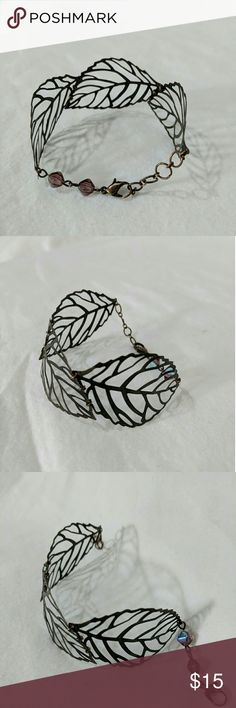 Thin Metal Leaf Bracelet Thin Metal And Very Easy To Bend  Brass Coloring  2 Pink/Purple Beads At End Accessories