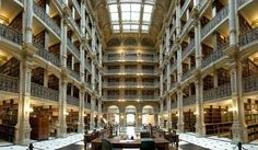 Community: 49 Breathtaking Libraries From All Over The World George Peabody Library at Johns Hopkins University — Baltimore, Md. World Library, Library Books, Monuments, John Hopkins, All Over The World, Around The Worlds, Coimbra Portugal, Peabody Library, Beautiful Library