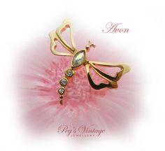 AVON Dragonfly Rhinestone Brooch/Tack Pin by PegsVintageJewellery