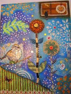 "Mixed Media Collage - ""Serene Garden"" - Cloth Paper Scissors"