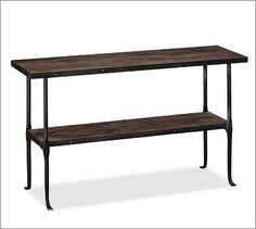 A console table with a shelf is perfect for an entryway.  Malone Console Table.  Potterybarn.com