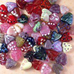 My lampwork heart beads.