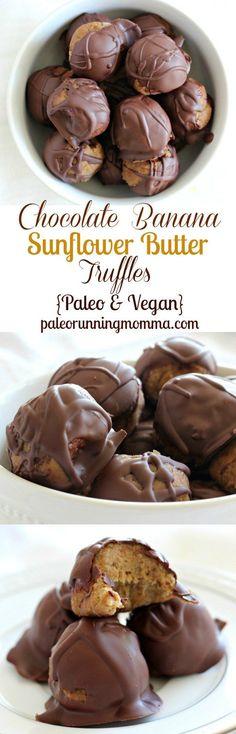 Chocolate Banana Sunflower Butter Truffles - Dark chocolate dipped no-bake paleo and vegan truffles made with creamy sunflower butter and ripe bananas
