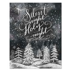 Silent Night, Holy Night - Print - Lily & Val – Silent Night, Holy Night – Print & Canvas – Winter Art – Illustrated Art – H - Chalkboard Drawings, Chalkboard Designs, Chalkboard Print, Chalkboard Ideas, Fall Chalkboard Art, Christmas Signs, Christmas Crafts, Christmas Decorations, Holiday Decor