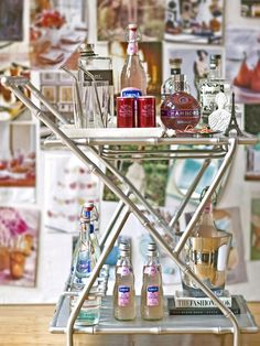 How to Style a Bar Cart by Jeanine Hays on @HGTV.  Image from @SocietySocial.