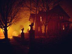 "autumn-delights: ""October nights and Halloween lights "" Spooky Scary, Spooky Halloween, Happy Halloween, Creepy, Vintage Halloween, Halloween Banner, Halloween Ideas, Orange Aesthetic, Autumn Aesthetic"