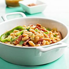 Bbq white beans If you prefer more salty, smoky flavor, try bacon in place of ham in this picnic-ready bean salad.