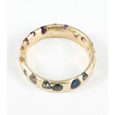 Medium Band - Multi Color Sapphires, Yellow Gold - Catbird